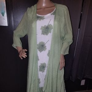 White and green tank dress with cardigan